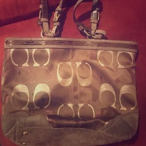 Authentic gold and brown coach  leather bag